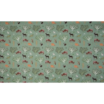 Poplin imprimat - Animals and Trees Mint