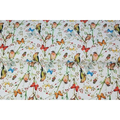 Poplin imprimat - Birds and Butterfly Ivory