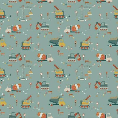 Poplin imprimat - Construction Vehicles Mint