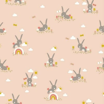 Poplin imprimat - Cute Rabbit Salmon