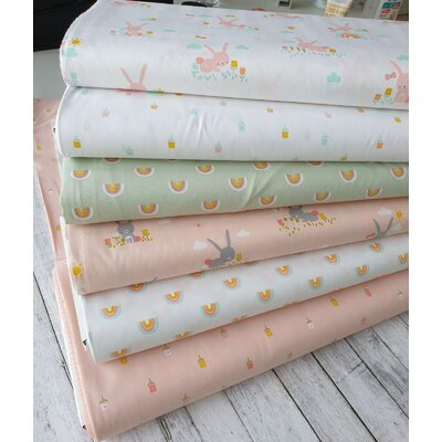 Poplin imprimat - Cute Rainbows Mint
