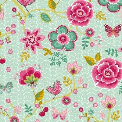 Poplin imprimat - Flower Garden Mint