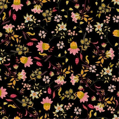 Poplin imprimat - Lovely Flowers Black