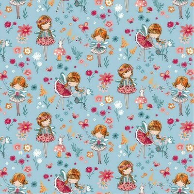 Poplin imprimat - Magical Garden Blue