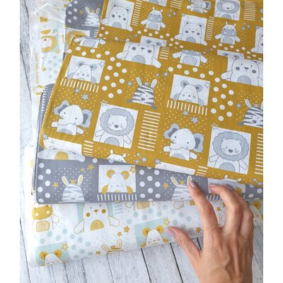 Poplin imprimat - Sweet Baby Animals Grey