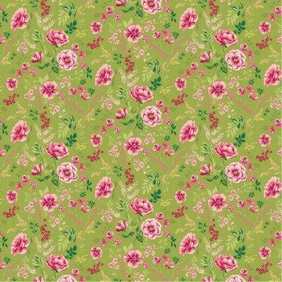 Poplin imprimat - Sweet Flower Lime