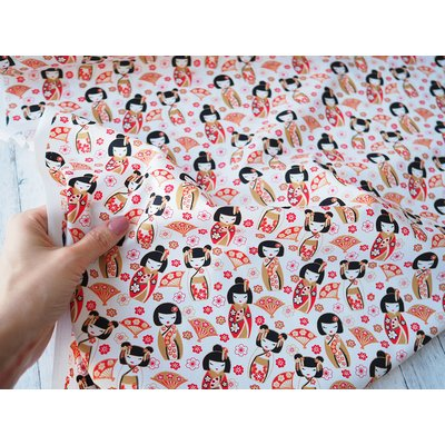 Poplin -  Japanese Dolls White