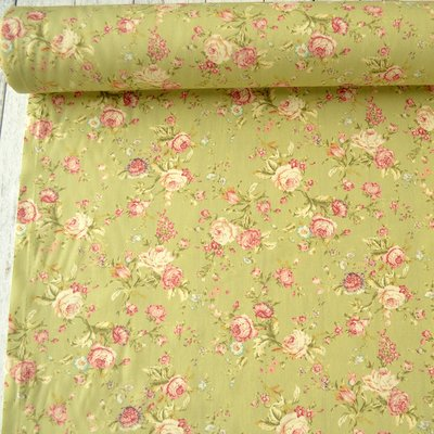 Poplin -  Vintage Roses Green
