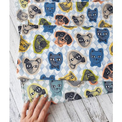 Printed Cotton - Cats and Dogs Blue
