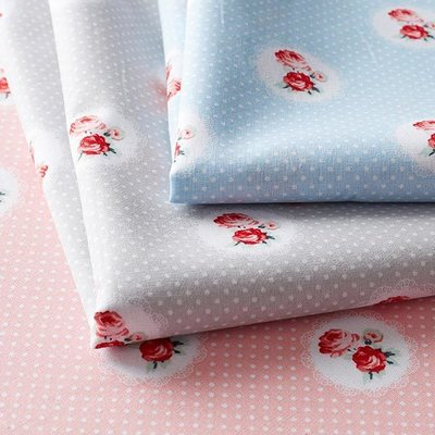 Printed Cotton - Charming Roses Blue