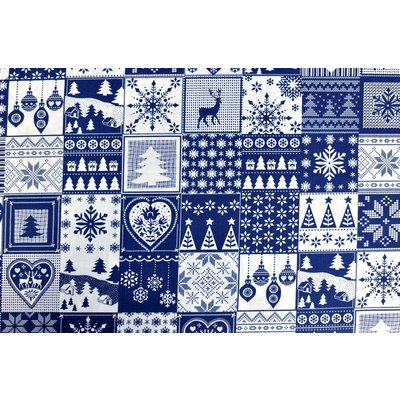 Printed Cotton - Christmas Squares Navy- 160 cm