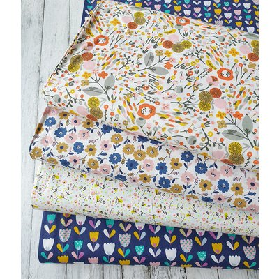 Printed Cotton - Flower festival White