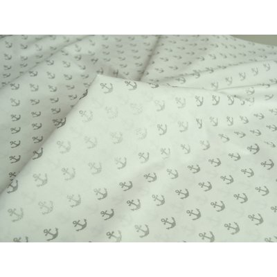 Printed Cotton - Glitter Anchors on White