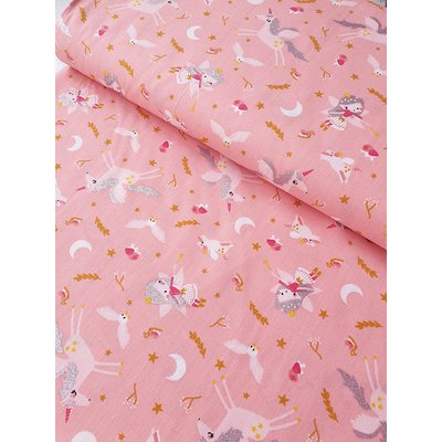 Printed Cotton - Glitter Fairy Pink