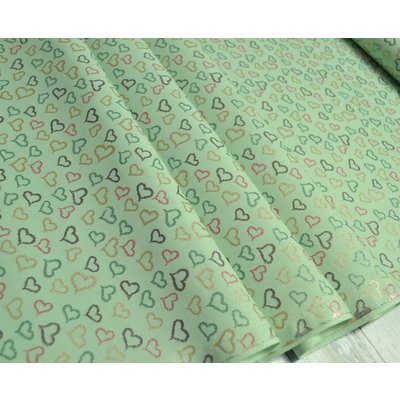 Printed Cotton - Glitter Shiny Hearts Green