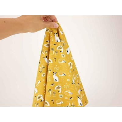 Printed Cotton Jersey - Forest Animals Ocru