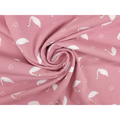 Printed Cotton Jersey - Swans Rose
