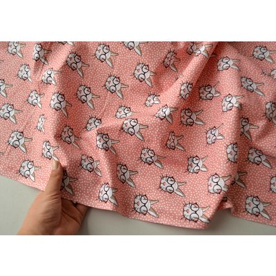 Printed cotton - Lapin Corail