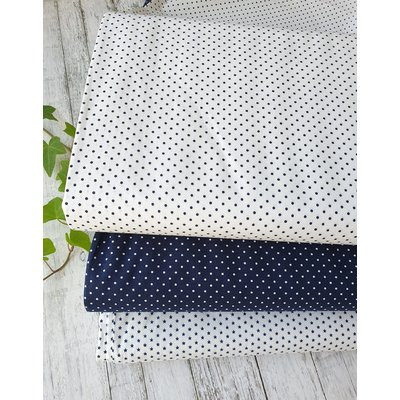 Printed Cotton - Petit Dot White  Navy