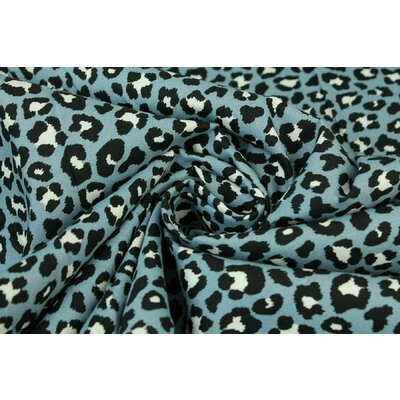 Printed Cotton poplin - Leopard Blue