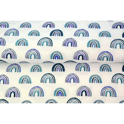 Printed Cotton poplin - Rainbow Nursery Blue