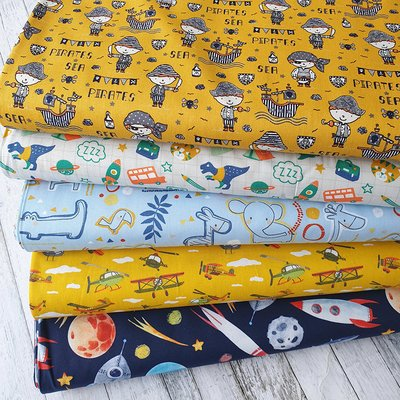 Printed Cotton - Sea Pirates Ocre