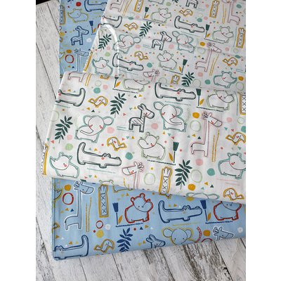 Printed Cotton - Sweet Zoo Animals Blue