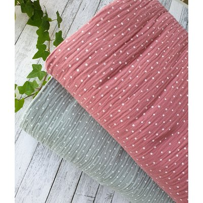 Printed Double Gauze - Little Dots Dusty Rose