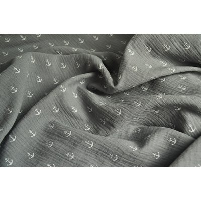 Printed Double Gauze - Anchors Grey