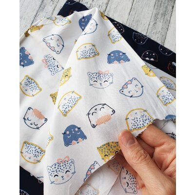 Printed Poplin - Chic Cats White