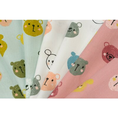 Printed Poplin - Cute Bears White