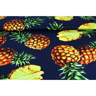 Printed Poplin - Pineapple Navy