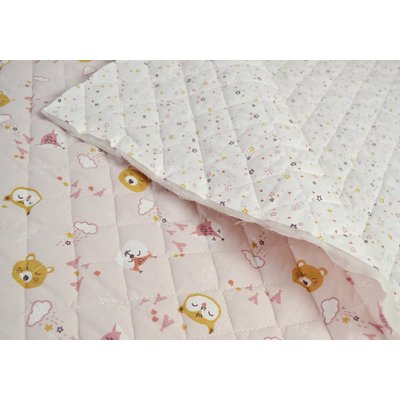 Quilted Cotton - Cute Animals Rose