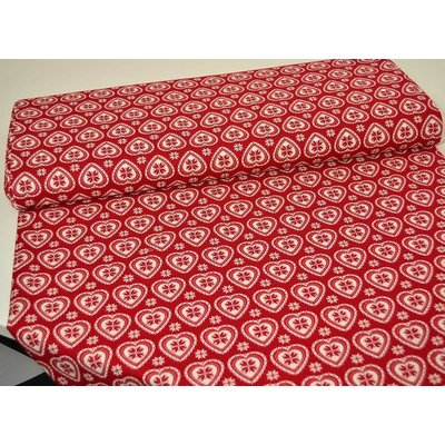 Scandi Hearts Cream on Red