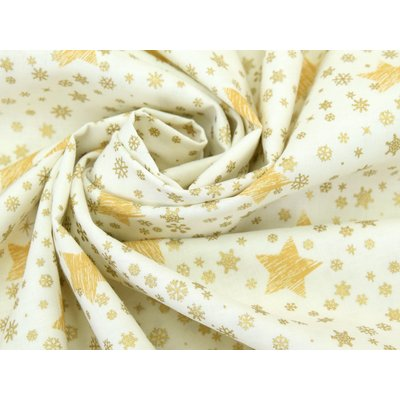 Material bumbac - Shining Stars Ivory Gold