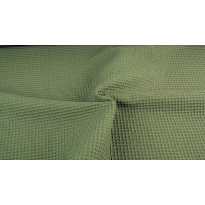 Waffle Cotton Fabric Army Green