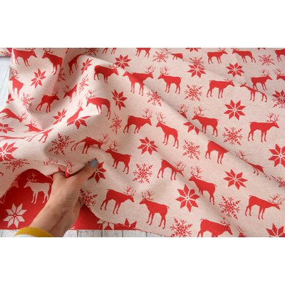 Woven Cotton Jacquard - Reindeers - 280 cm wide