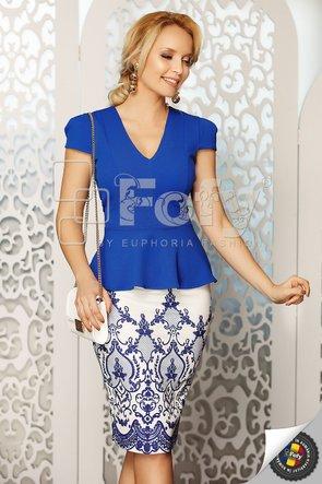 Bluză albastru electric cu fundițe albe