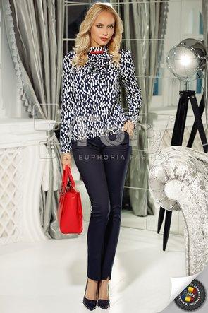 Bluză bleumarin cu pete albe și jabou