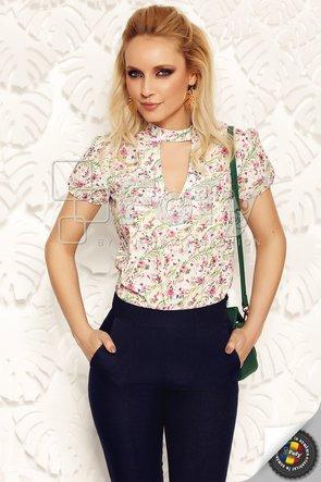 Bluză casual ecru cu choker și imprimeu floral discret