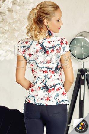 Bluză cu imprimeu floral roșu și drapaj decorativ