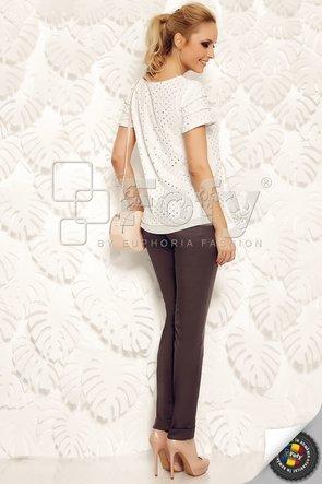 Bluză din voal alb cu buline metalizate