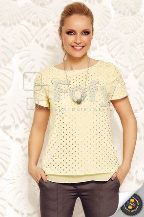 Bluză din voal galben cu buline metalizate