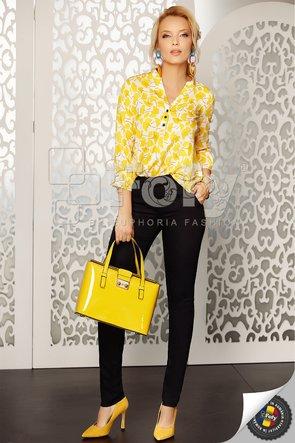Bluză ecru cu flori galbene