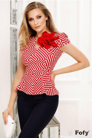 Bluza Fofy rosie cu peplum decoltata imprimeu geometric si floare maxi
