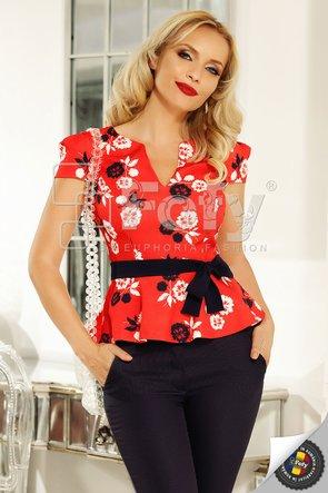 Bluză Fofy roșie cu print floral