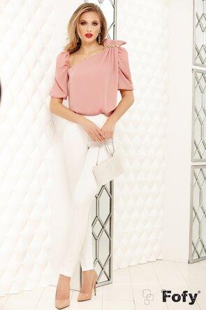 Bluza Fofy roz cu funda fronsata pe un umar si accesoriu cristale