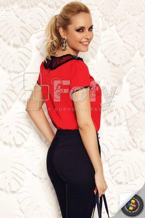 Bluză mătase roșie cu guler din tulle negru cu buline