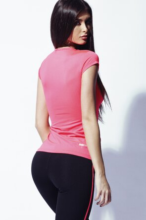 Bluza sport roz cu decolteu in V