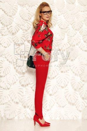 Bluză voal roșu cu imprimeu floral